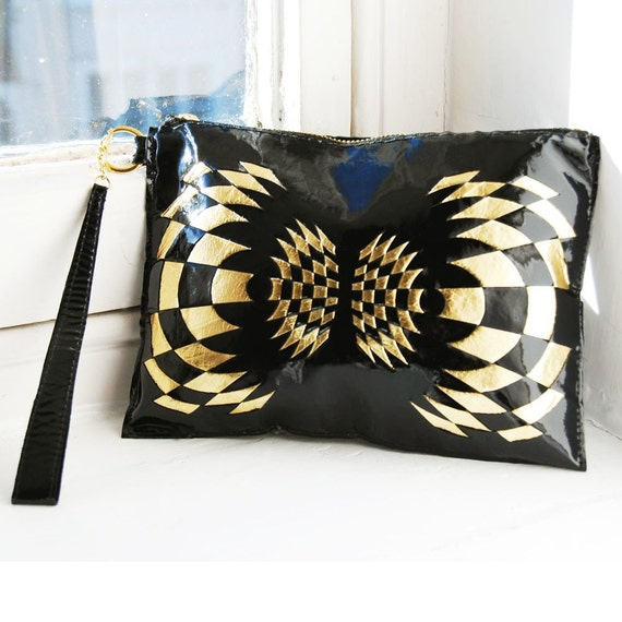 Glossy patent Black/gold leather clutch