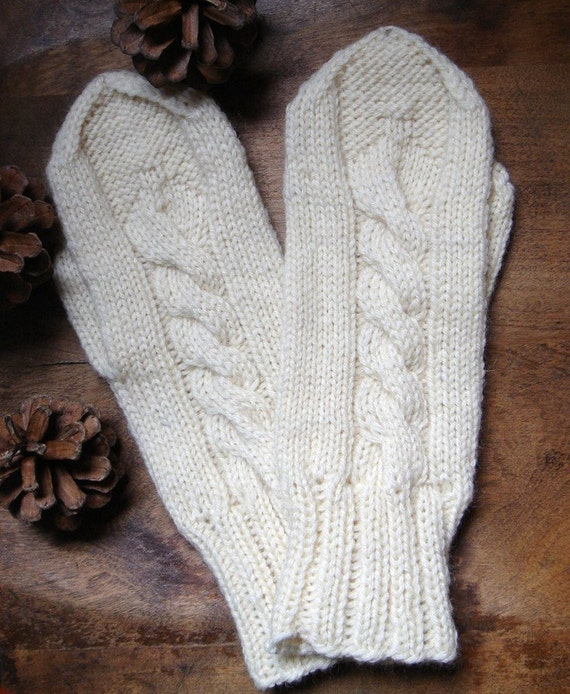 Hand knit Rustic Mittens