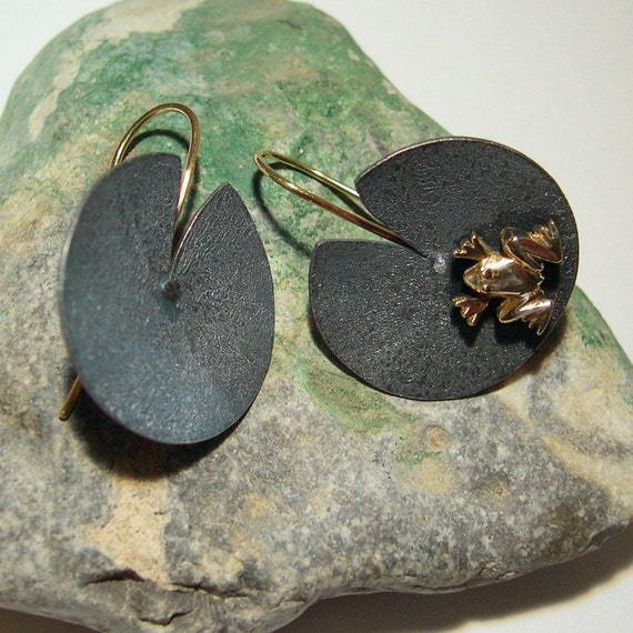 Lily Pad Earrings with Frog - 14k Gold, Sterling silver