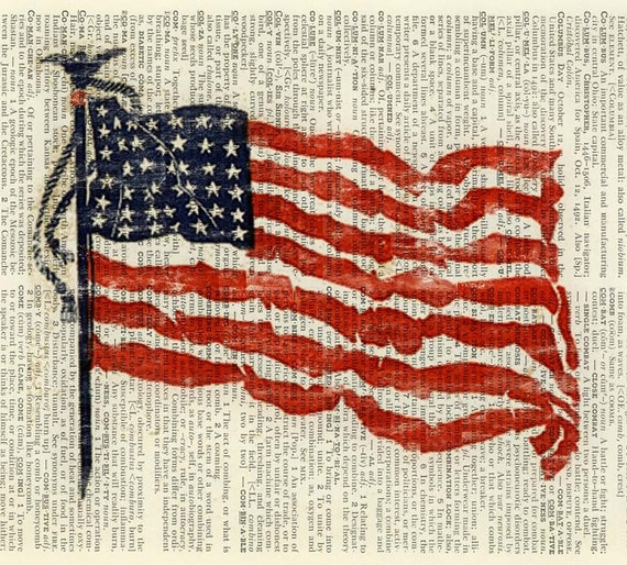 Flag printed on old page from vintage dictionary