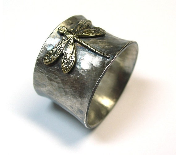 Sterling Silver Dragonfly Ring Wide Band - Enchanted Dragonfly
