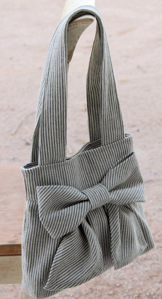 Striped Bow Purse w/ Double Handles --Ready to  ship