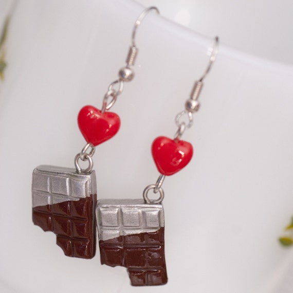 Roscata Chocolate Candy Bar Earrings Handmade Polymer Clay Food Miniature Art Jewelry