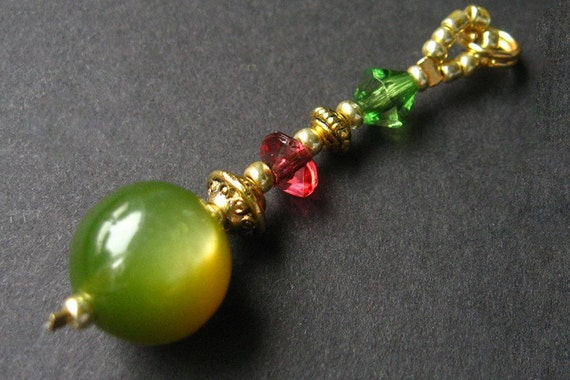 HOLIDAY SALE Charm, Keychain and Zipper Pull - Green for Christmas