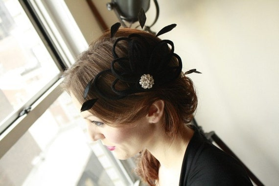 Whimsical Elegance Black Velour Feathered Cocktail Hat