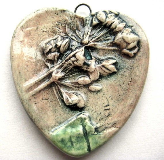 SALE Dill Seed Heart Pendant
