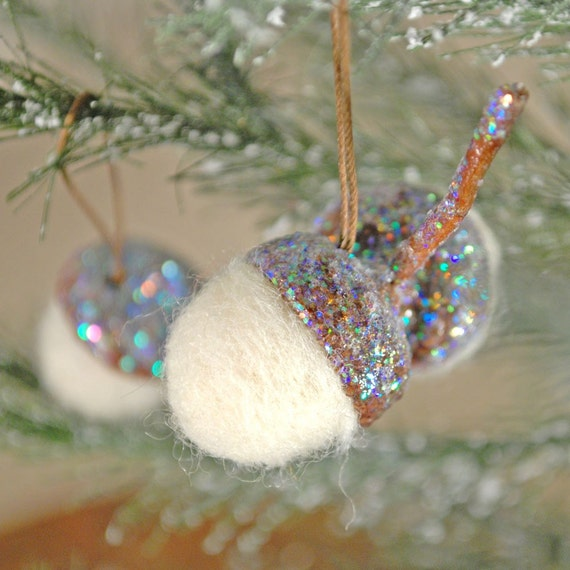 Set of 3 needle felted and glittered hanging acorn ornaments (sparkle) (number 2)