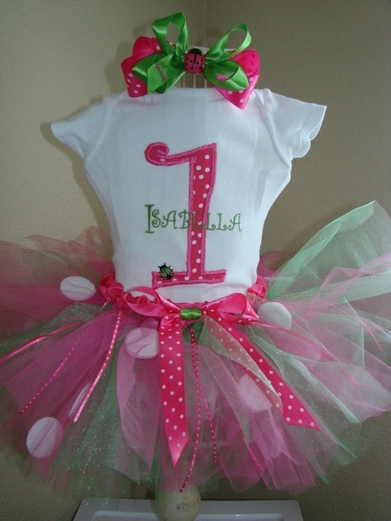 Ladybug Birthday Tutu Outfit Pink and green monogram name, Boutique bow, head band, Great for 1st 2nd 3rd Birthdays long or short sleeves