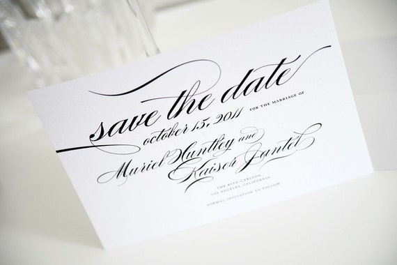 Elegant Script Save the Date Sample in Black and White on Pearl Shimmer Luxury Cardstock