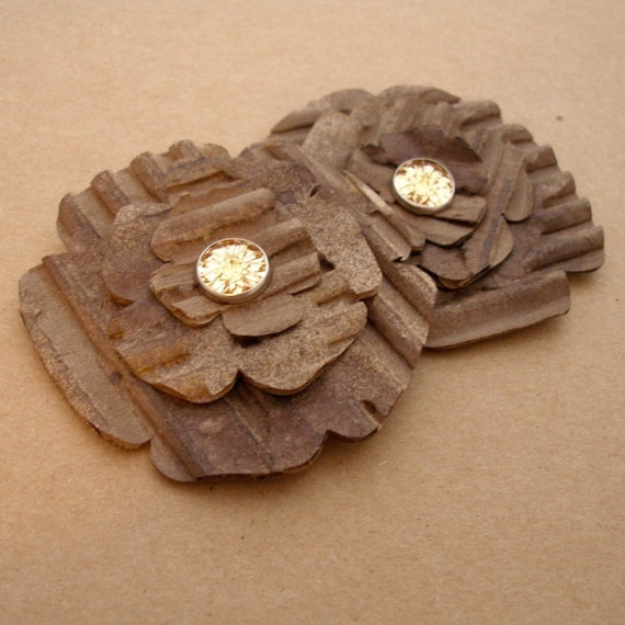 NEW COLOR - Tattered Leather - Dyed Cardboard Flowers
