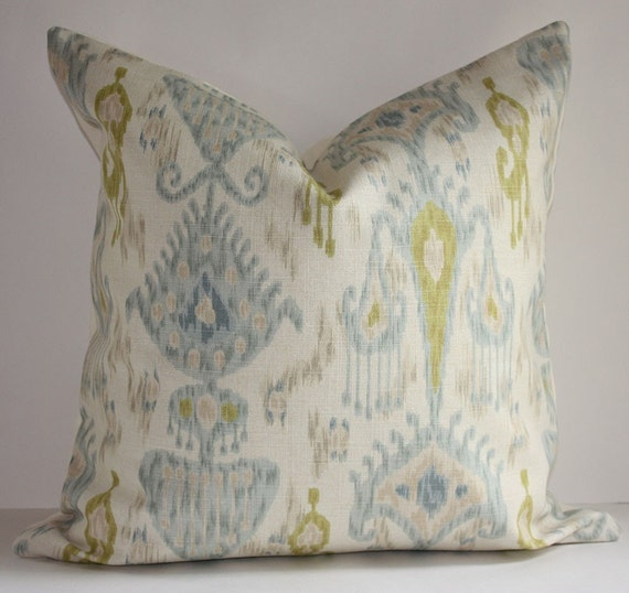 Light Blue & Yellow Ikat Pillow on Etsy