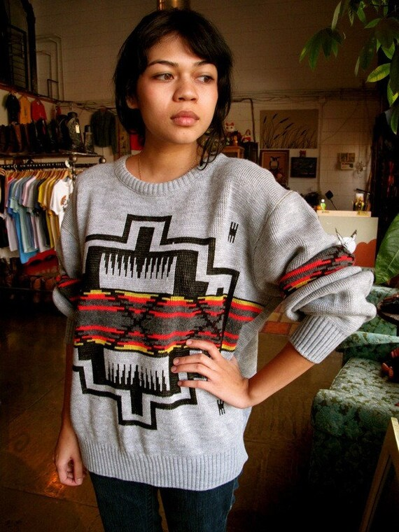Amazing Vintage 80s Southwestern Sweater with the best colors