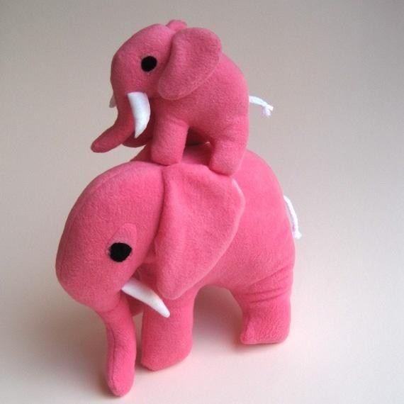 mommy and me eco elephant stuffed animals / Petaluma and Petunia the bright fuschia pink pair