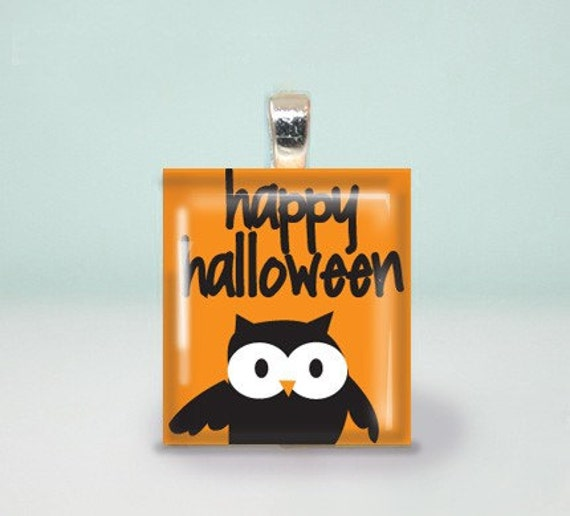 Scrabble Pendant Black Orange Kitschy Cute Black Owl Happy Halloween