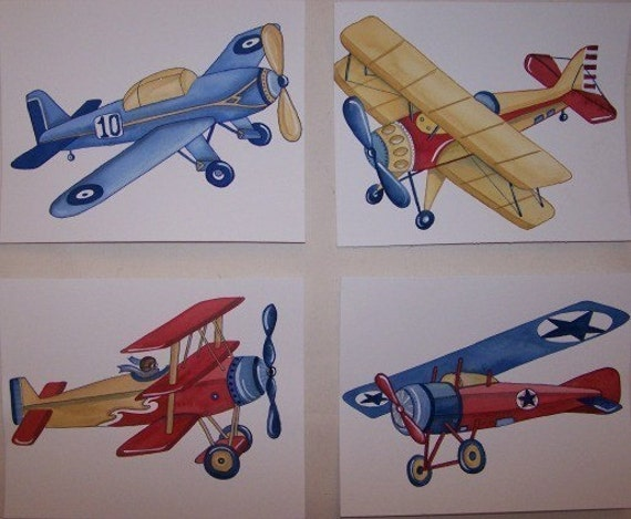 BABY VINTAGE AIRPLANES PLANES LITTLE AVIATOR KIDS ART PRINTS