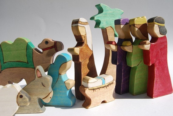 RESERVED Waldorf Inspired Wooden Nativity Toy Set Ten Pieces