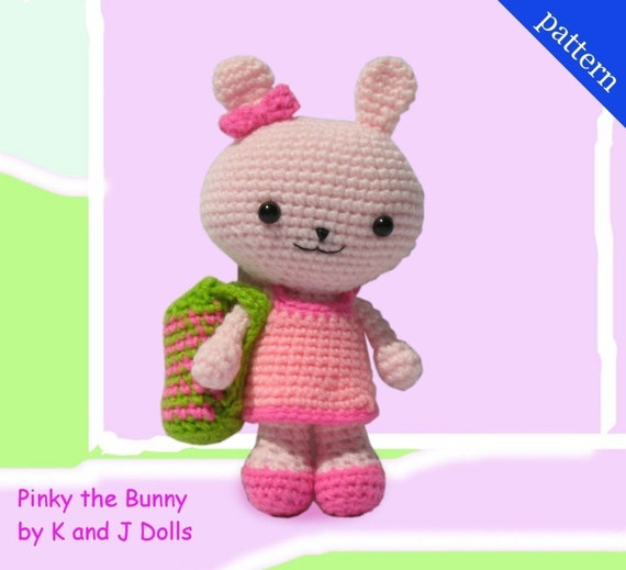 Pinky the Bunny with 2 Outfits and bag - PDF Amigurumi crochet pattern