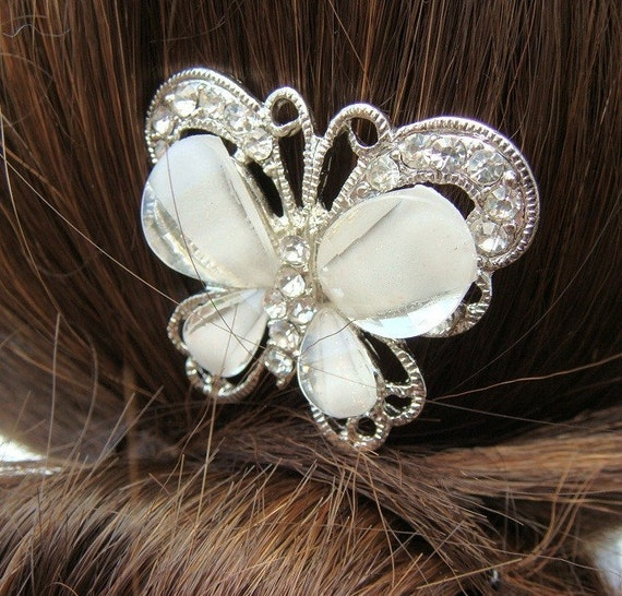 Above and Beyond - Vintage style BUTTERFLY Bridal Hair Stick - crystals
