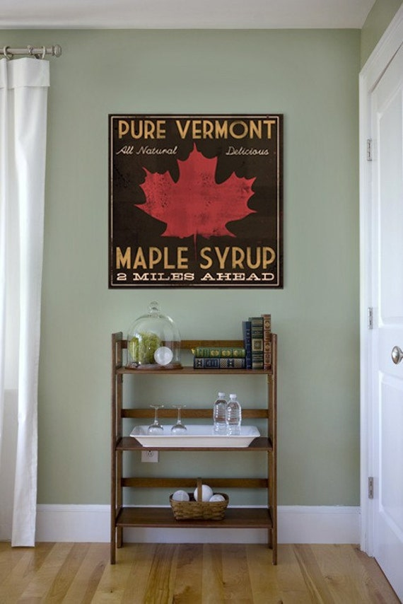 VERMONT MAPLE SYRUP rustic Road Sign Graphic Art collage on canvas  24 x 24 inches Vintage Style