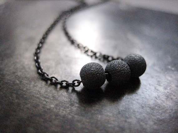 three. modern mommy necklace. oxidized sterling silver.
