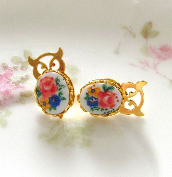 Vintage Gold Owl and Flower Post Earrings