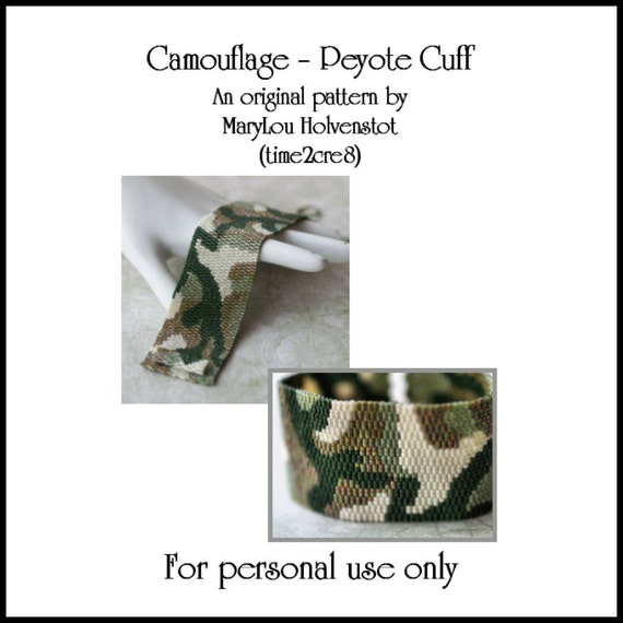SALE... Camouflage Peyote Bracelet / Cuff - PDF Pattern for Personal Use Only