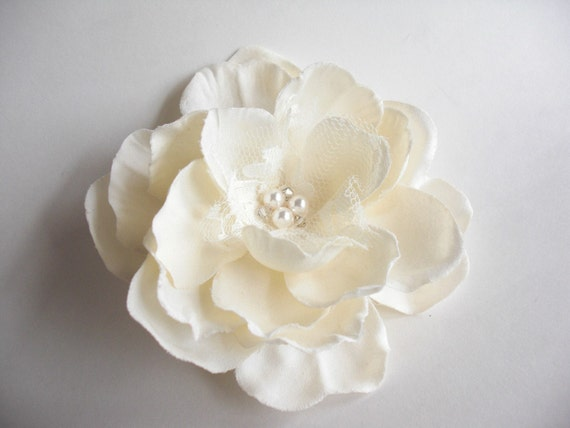 Ivory Blossom hair comb with lace pearl and crystal by keepbags from etsy.com