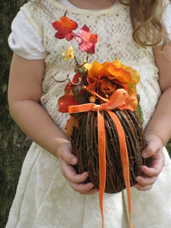 RUSTIC -- Fall Twig Ring Bearer Pumpkin with Autumn Roses, Maple Leaves and Velvet Ribbon For Your Rings