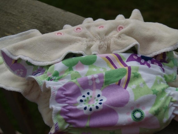 SALE One Size Organic Cotton Velour Fitted Cloth Diaper