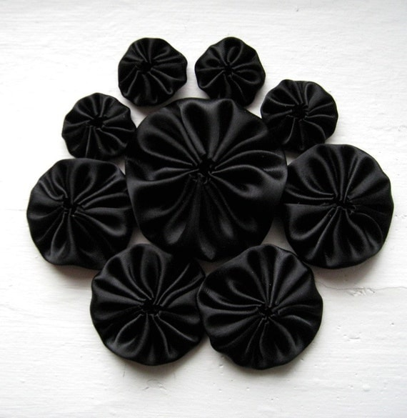 Handmade Black Silk Satin YoYo Appliques Mix Size by ILoveYoYo from etsy.com