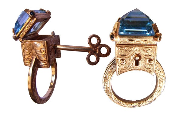Engraved Topaz Locking Poison Ring with Key on Chain