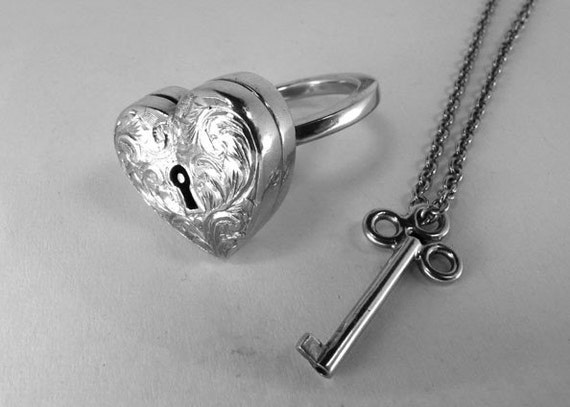 Locking Engraved Heart Locket Ring with Key on Chain Necklace
