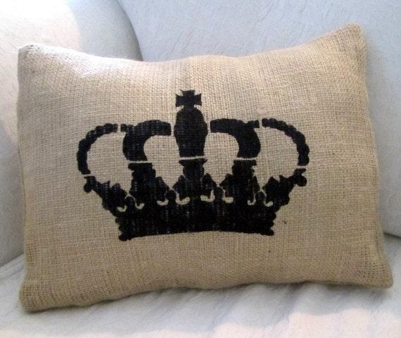 ROYAL CROWN Hand Painted Tan Burlap Pillow Cover
