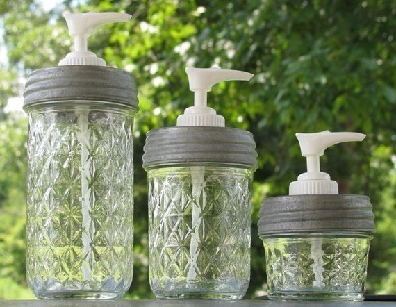 Set of Three Ball Quilted Crystal Mason Jar Soap Dispensers