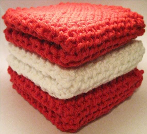 Candy Cane Eco-Friendly Cotton Dishcloths - Set of 3