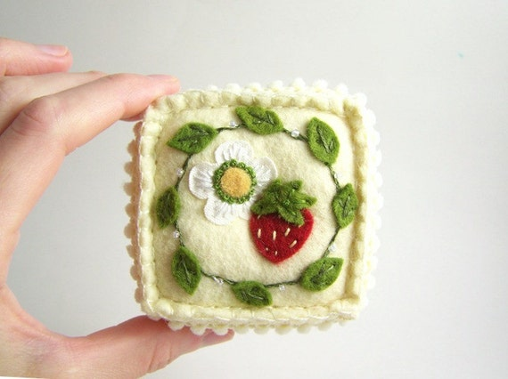 Embroidered Felt Summer Strawberry Pincushion