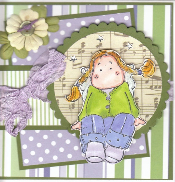 SWEET TILDA IN PURLE HANDMADE CARD
