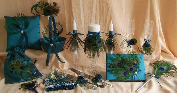Peacock Feathers Guest Book and Pen set