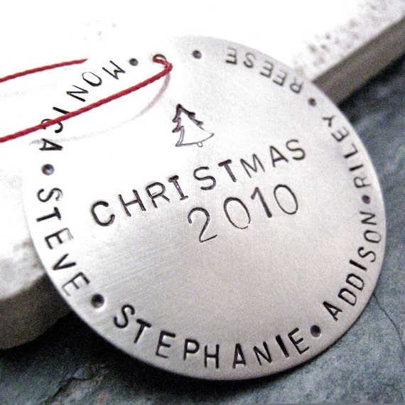 Personalized Silver Christmas Ornament, family names or other wording around the edges, nickel silver, alt customization avail, just ask, free shipping to U.S. and Canada, flat rate elsewhere
