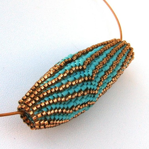 Scalloped Blooming Bead in Turquoise and Bronze Pendant (2534)