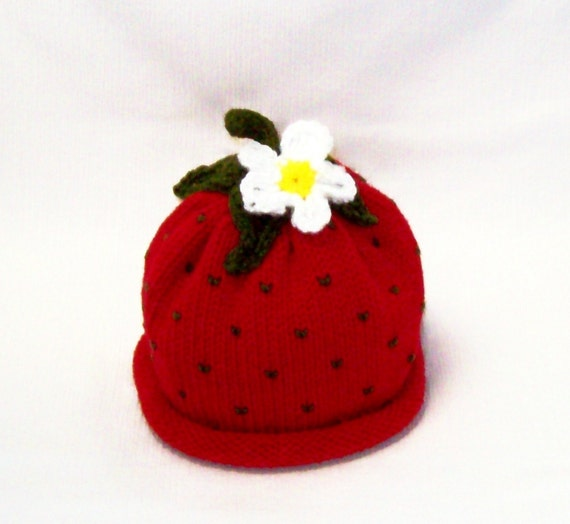 Knit Red Strawberry Fruit Hat with Flower Infant  Sizes Makes a Great Photography Prop