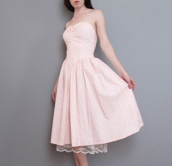 vintage PINK strapless cotton dress LACE slip XS S