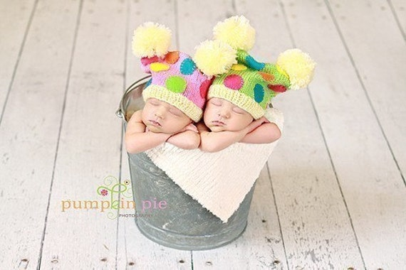 TWO TIMES TWIN SQUARE HATS Newborn Size - MADE TO ORDER