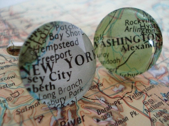 Map cufflinks - personalise with your own placenames