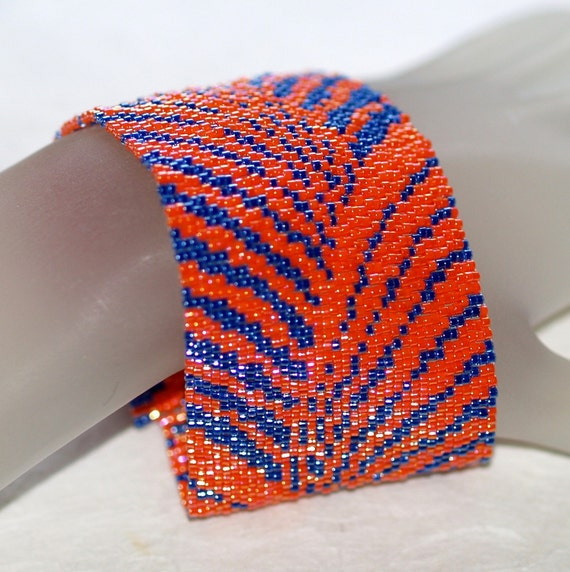 To and Fro - Peyote Bracelet in Orange and Navy Blue (3294)
