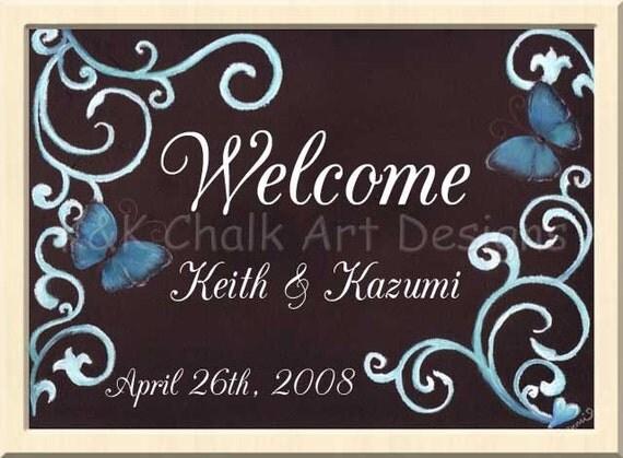 Love Butterflies Wedding Welcome Board By