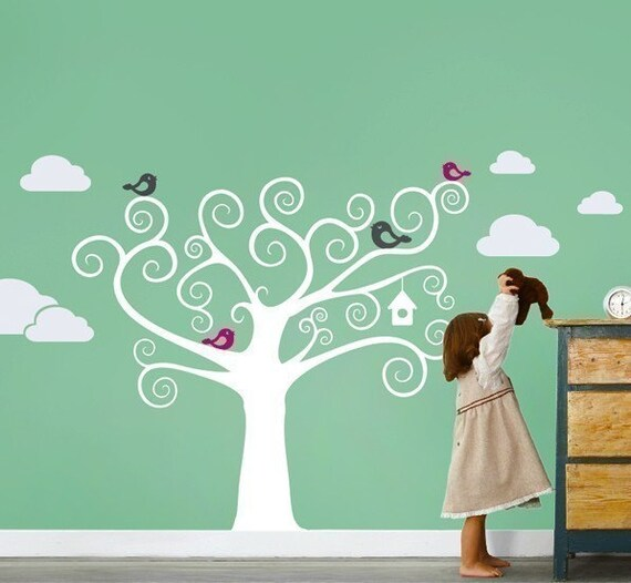 Swirly Tree with Cute Birds Decal - Kids Vinyl Wall Sticker