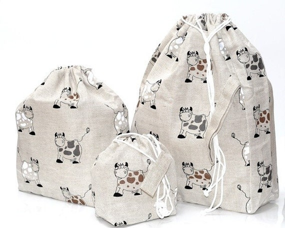 Set of 3 HAPPY COW Knitter Project Bags. XL, Large and Mini.