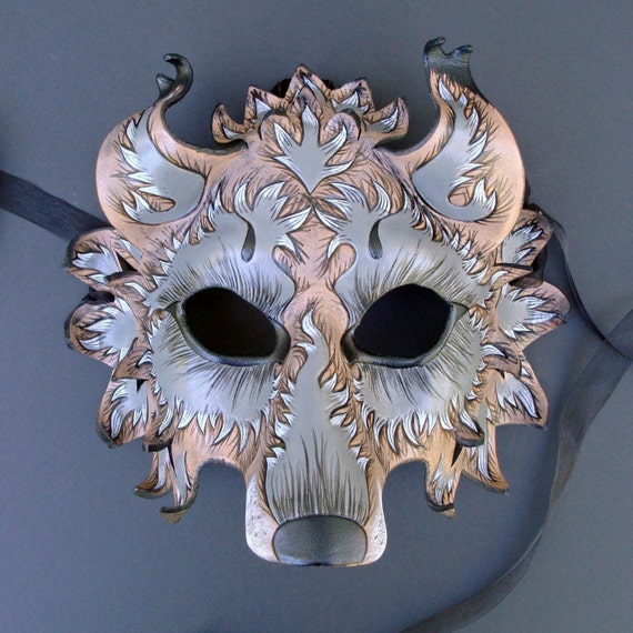 CUSTOM Fantasy Wolf Mask...Handmade Leather Mask Made to Order