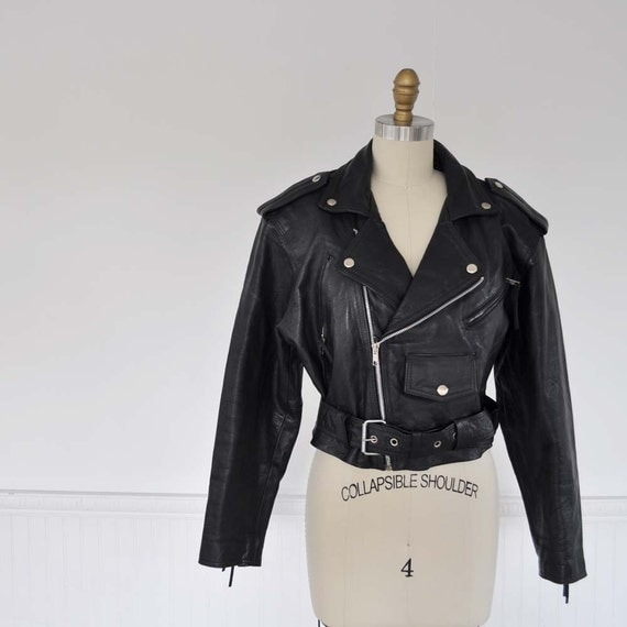 Vintage 80s ASYMMETRICAL ZIP Leather Biker Jacket by MariesVintage from etsy.com